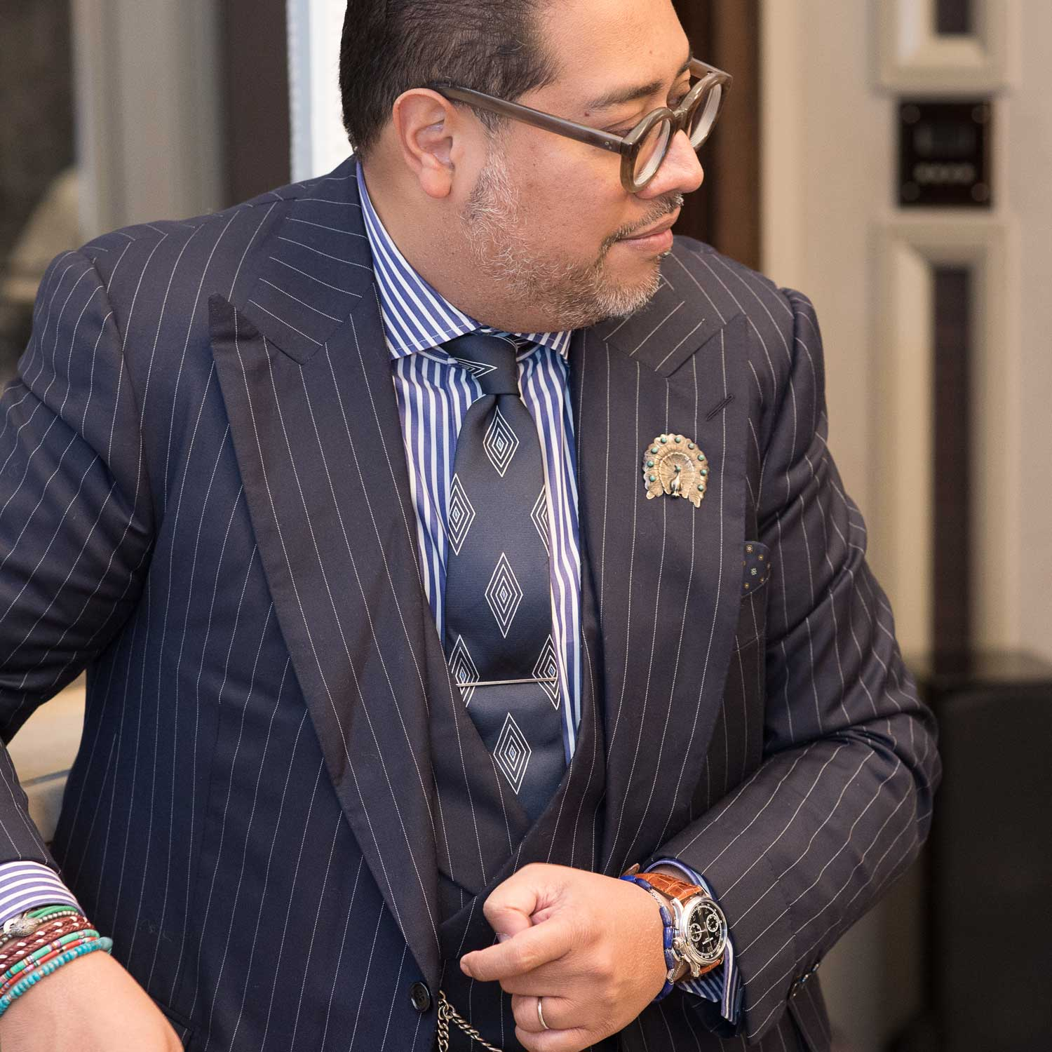 "Ahmed ""Shary"" Rahman, seen here with the Patek Philippe ref. 5370P on his wrist (©Revolution)"