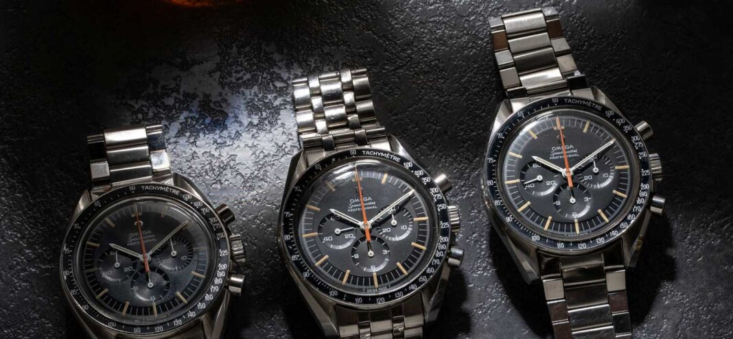 """Not one, not two, but THREE examples of the Reference ST 145.012 Omega Speedmaster """"Ultraman"""" that are part of Revolution's permanent Speedmaster collection, at the Revolution Watch Bar (©Revolution)"""