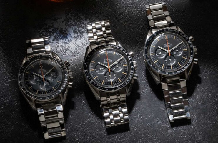 "Not one, not two, but THREE examples of the Reference ST 145.012 Omega Speedmaster ""Ultraman"" that are part of Revolution's permanent Speedmaster collection, at the Revolution Watch Bar (©Revolution)"