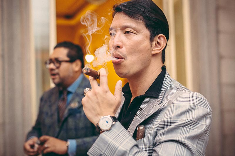 """Wei Koh at the 2017 Concorso d'Eleganza with Ahmed """"Shary"""" Rahman, better known to us as @Time_Mechanic (Image: hespokestyle.com)"""