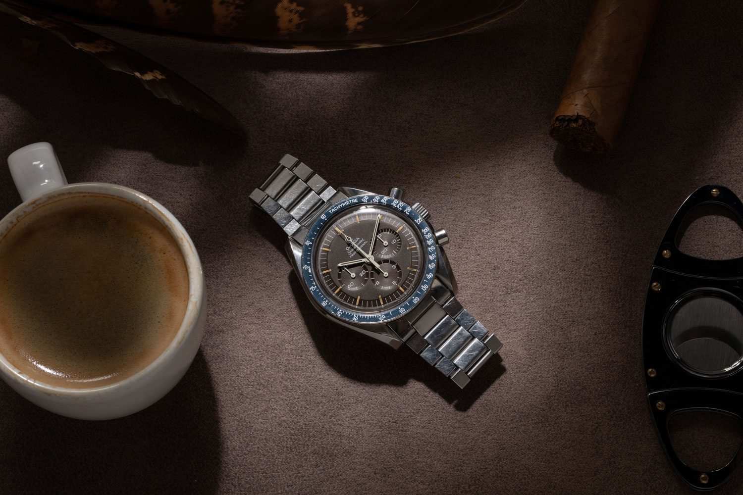 One of two examples of the Chocolate Speedmaster ST 145.022-69 from the Temple of Speed; this example with a DON bezel (©Revolution)