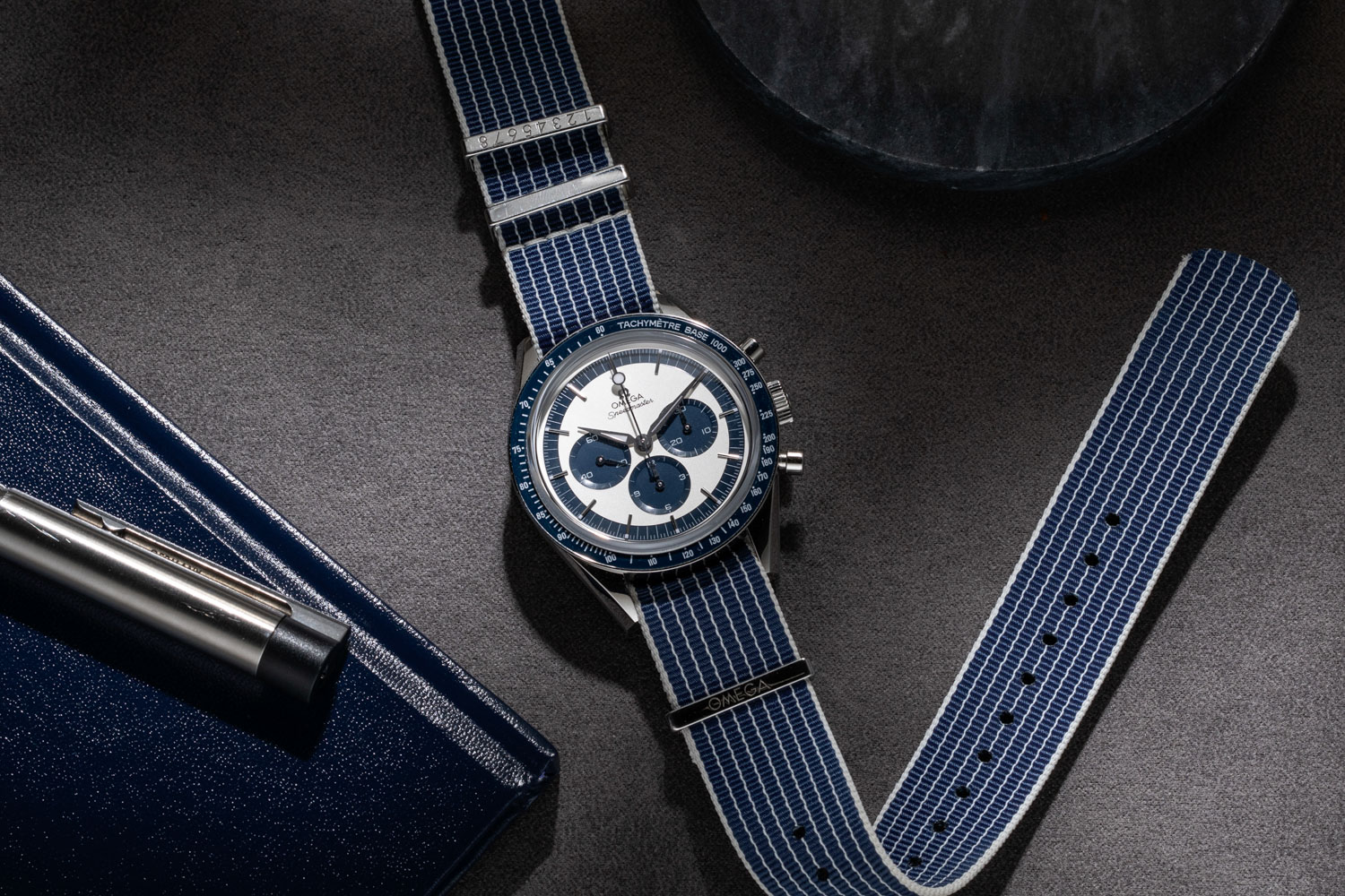 "The Speedmaster ""CK2998"" Limited Edition launched in 2016 was made in a limited run of 2998 pieces; here we've put the watch on a NATO-type strap from Omega's own collection of straps and accessories (©Revolution)"