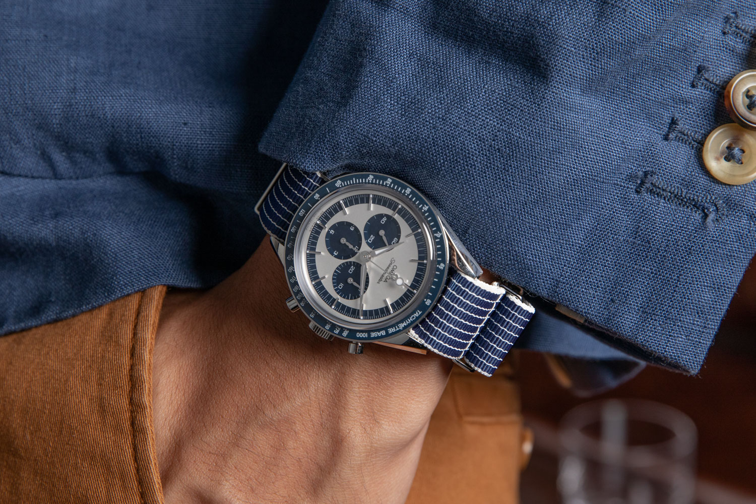 """The Speedmaster """"CK2998"""" Limited Edition launched in 2016 was made in a limited run of 2998 pieces; here we've put the watch on a NATO-type strap from Omega's own collection of straps and accessories (©Revolution)"""