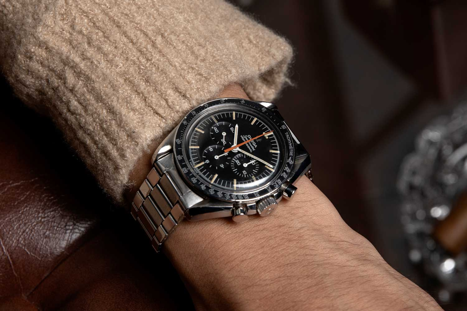 The 1968 Speedmaster ref. ST 145.012-67 with the peculiar orange chrono hand that collectors have nicknamed: The Ultraman (©Revolution)