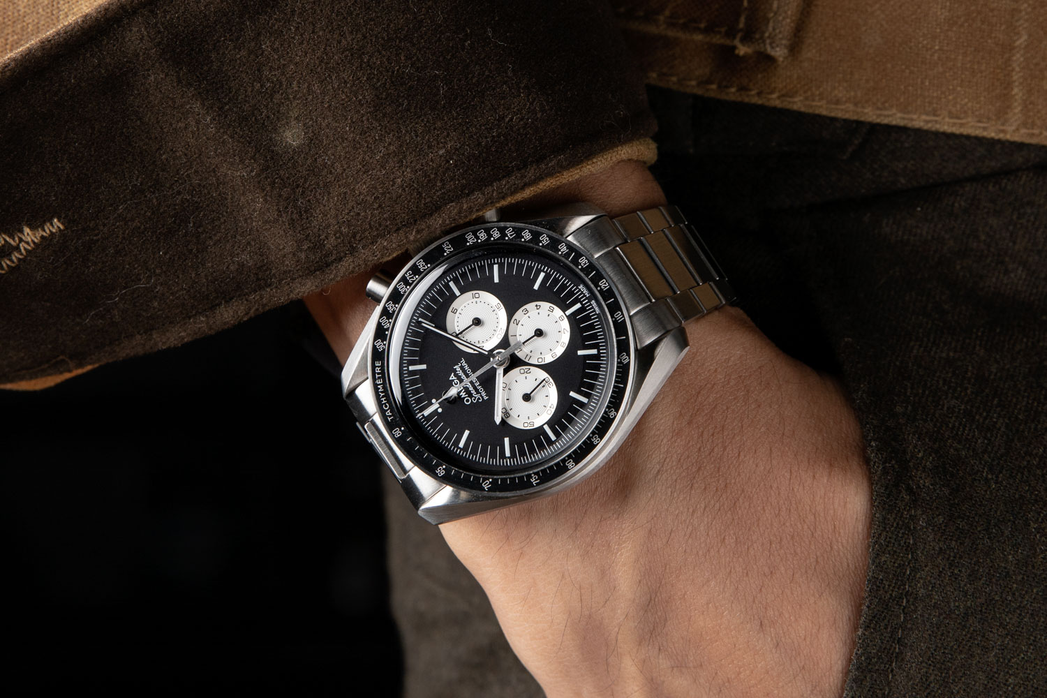 """The Speedmaster """"Speedy Tuesday"""" Limited Edition was launched by Omega on Instagram on January 10, 2017 in a limited run of 2012 pieces and sold out in 4 hours, 15 minutes and 43 seconds; here the watch is worn on a flat link bracelet from our friends at forstnerbands.com (©Revolution)"""