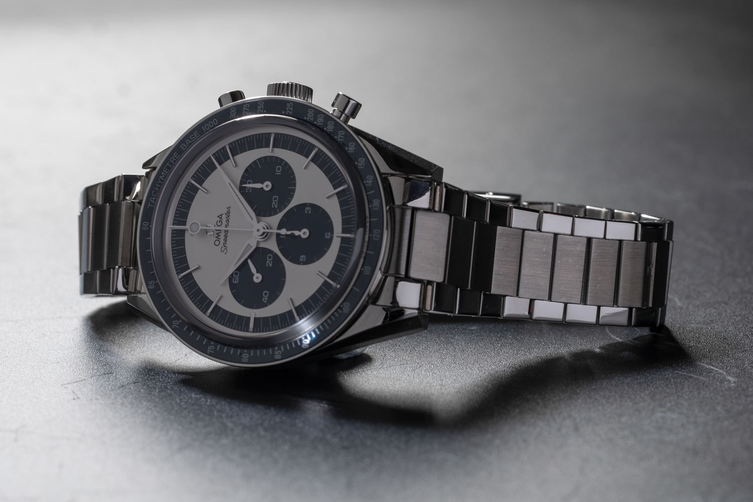 "The Speedmaster ""CK2998"" Limited Edition launched in 2016 was made in a limited run of 2998 pieces; here we've put the watch on a two-tone flat link bracelet from our friends at forstnerbands.com (©Revolution)"