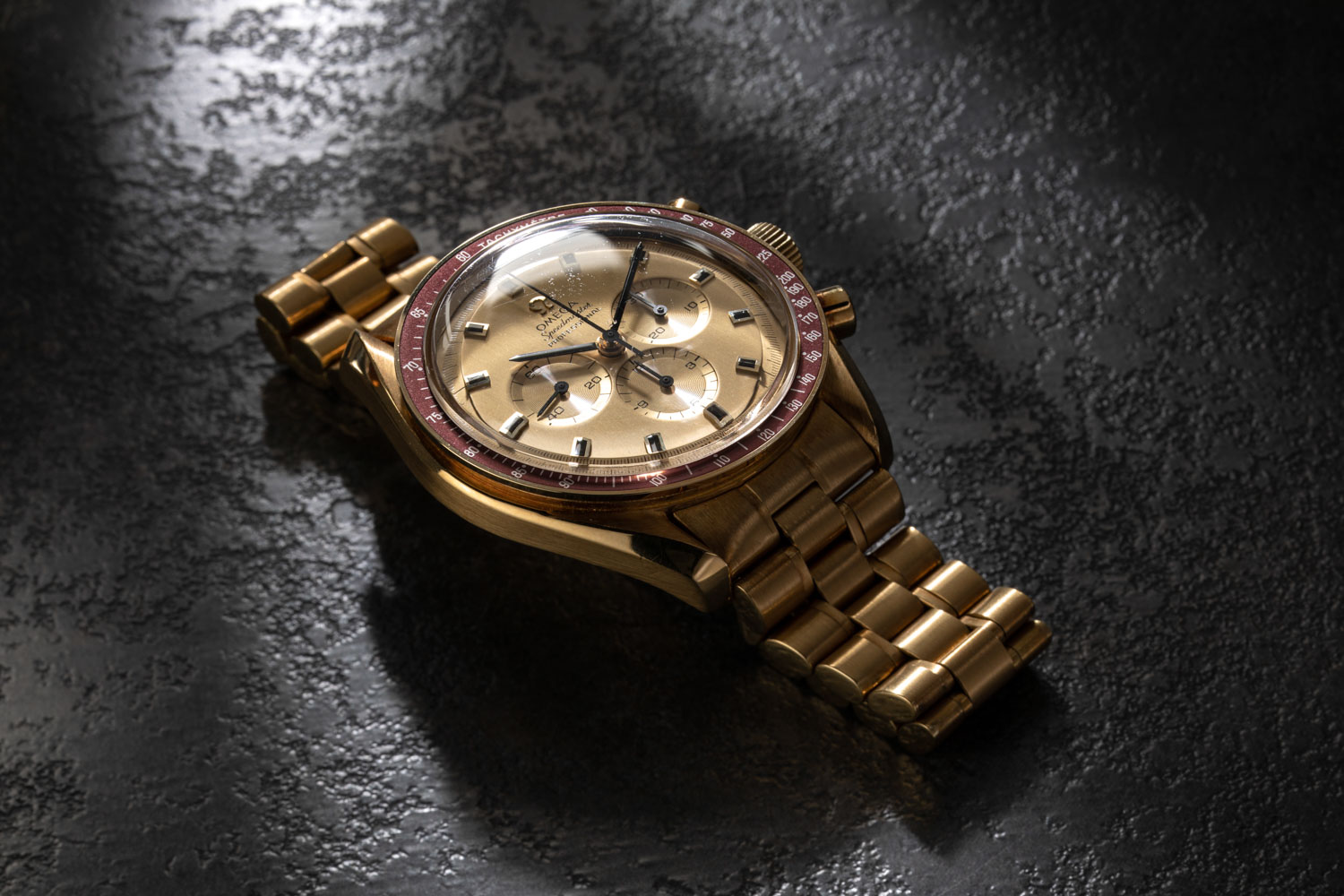 1969 Yellow Gold Omega Speedmaster Tribute to Apollo XI Reference BA 145.022 was produced in a run of 1,014 pieces (©Revolution)