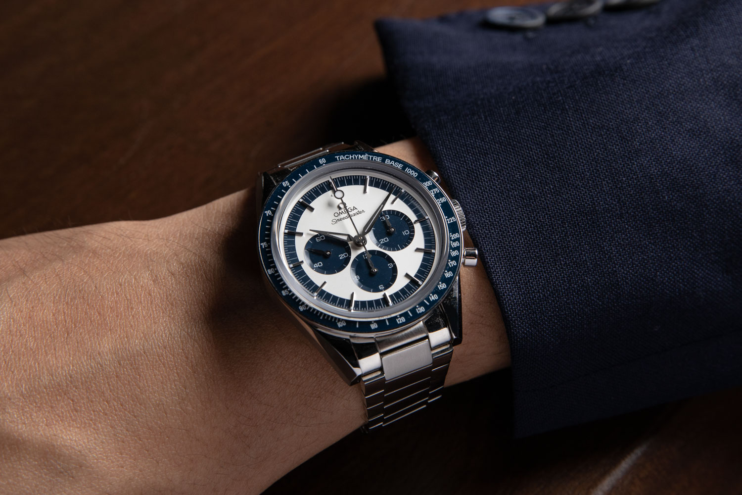 """The Speedmaster """"CK2998"""" Limited Edition launched in 2016 was made in a limited run of 2998 pieces; here we've put the watch on a two-tone flat link bracelet from our friends at forstnerbands.com (©Revolution)"""