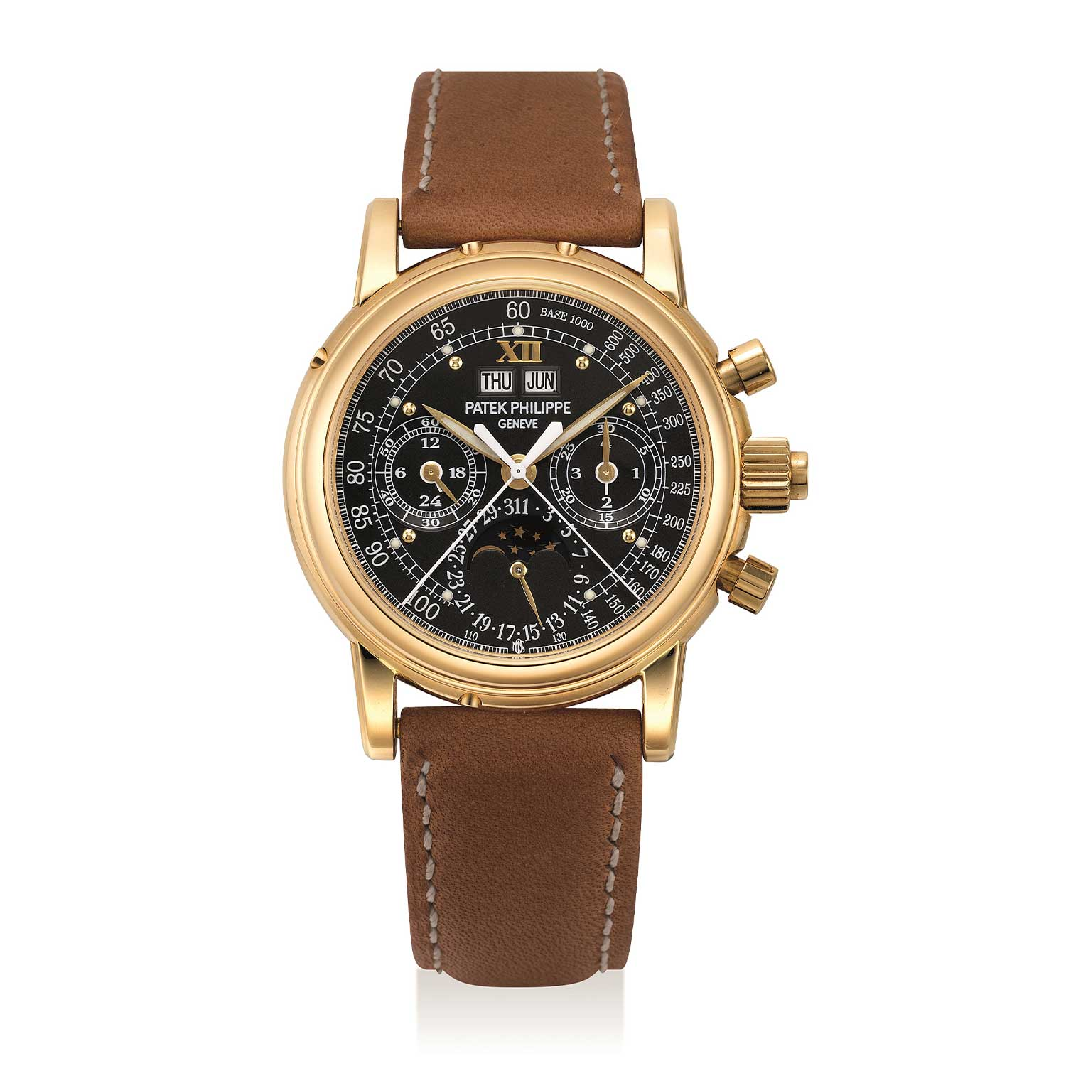 Patek Philippe Ref. 5004J-017; possibly unique yellow gold perpetual calendar split seconds chronograph wristwatch with moon phases, leap year, special luminous monogram dial; reportedly the former property of Hollywood mogul, Mike Ovitz (Image: phillips.com)