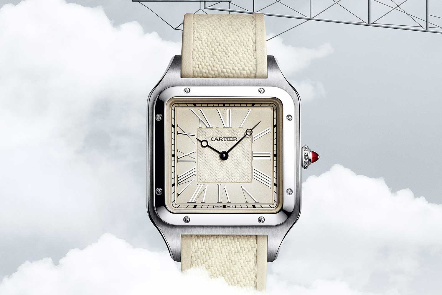 The Cartier Santos-Dumont La Demoiselle limited edition in platinum.