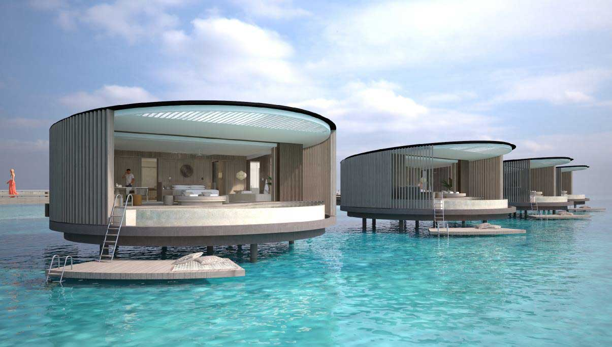 Rendering of a one bedroom water villa being built at one of three hotel concepts, which will each occupy one of the three reclaimed reef islands (Image: Pontiac Land)