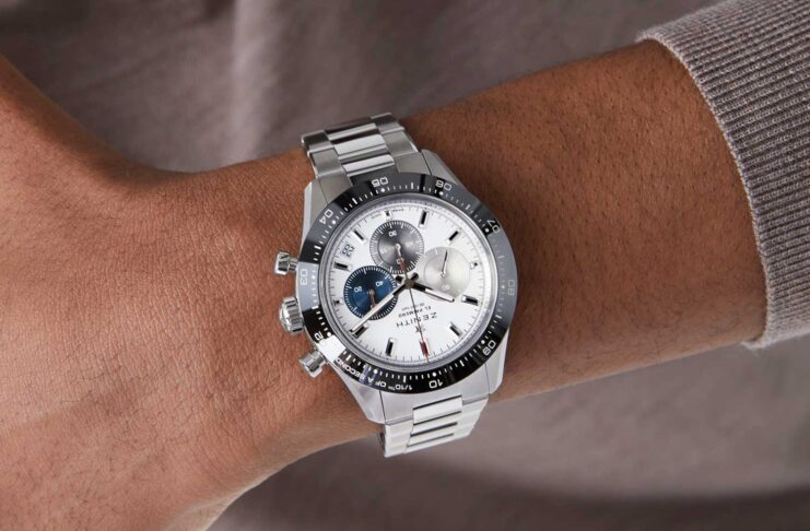 The 2021 Zenith Chronomaster Sport with a white dial and black ceramic bezel