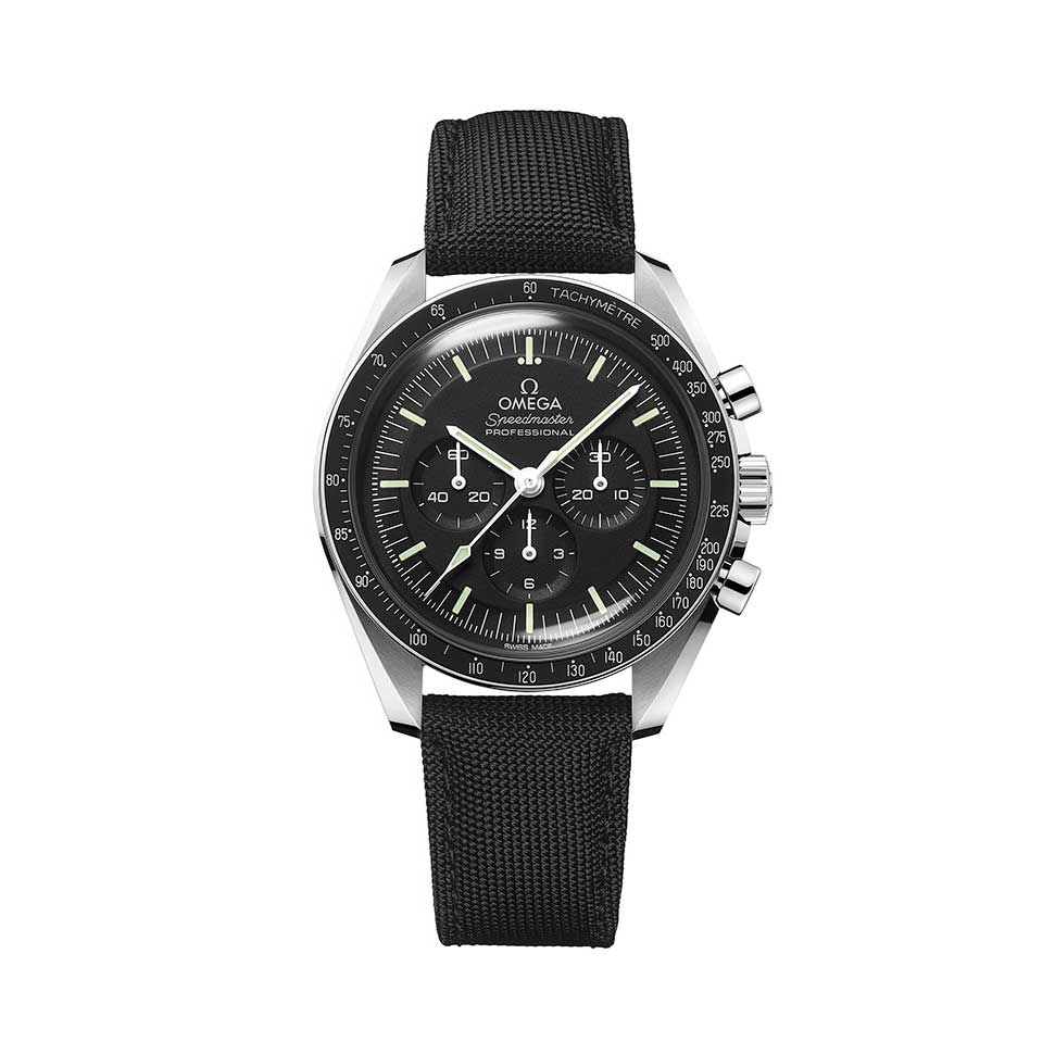Ref. 310.32.42.50.01.001: Steel on coated nylon fabric strap with hesalite crystal