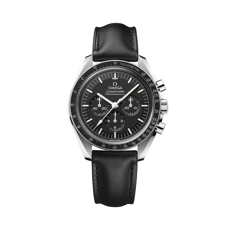 Ref. 310.32.42.50.01.002: Steel on leather strap with sapphire crystal