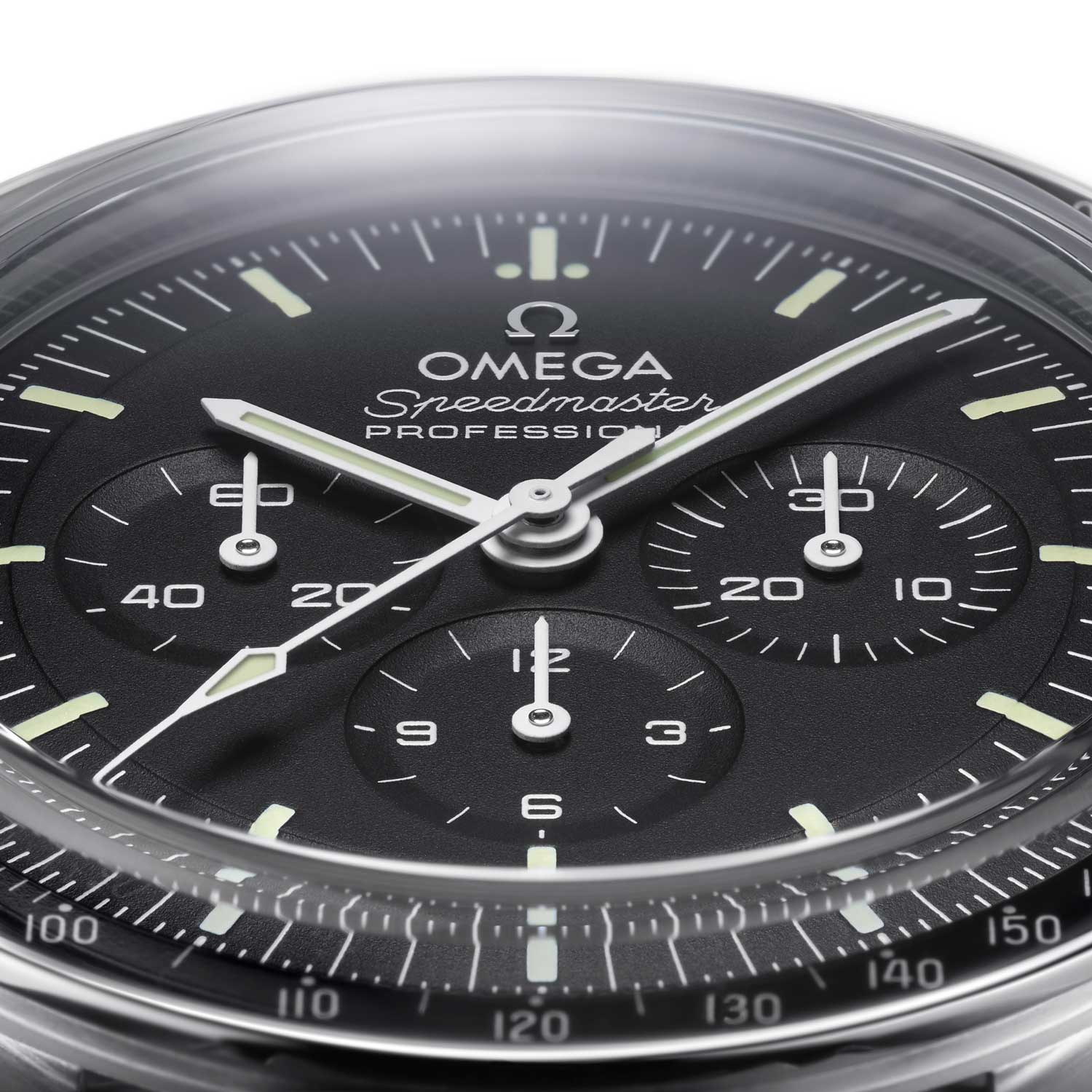 The 2021 Speedmaster dial has been given the stepped configuration and paired with bowed minute and seconds chronograph hands that follow the contour of the stepped dial closely; here you can also see that this begin a sapphire crystal version, has an applied Omega logo