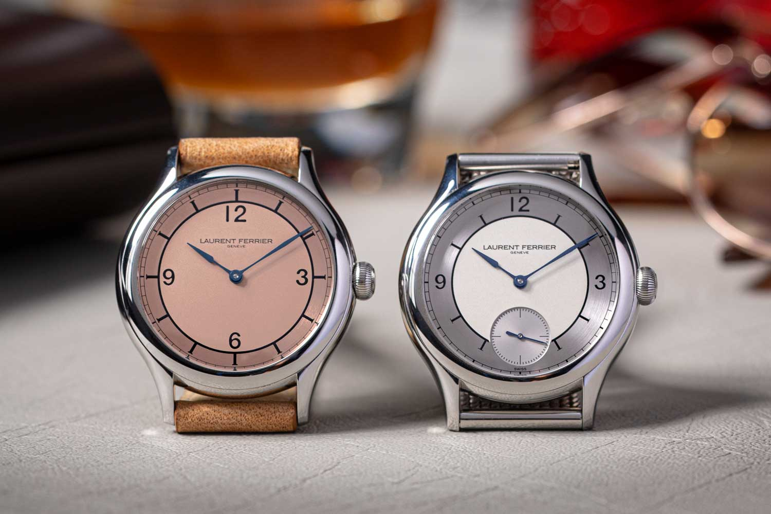 (From left) The Laurent Ferrier Steel Galet Micro-Rotor Salmon Dial for Revolution (1-of-1) and the Laurent Ferrier Classic Origin for Revolution & The Rake, both watches are rendered in steel and measure in at 40mm on the diameter (©Revolution)