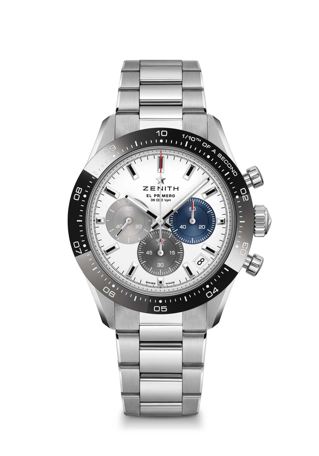Zenith Chronomaster Sport ref. 03.3100.3600/69.M3100 with a white dial, fitted on a stainless steel bracelet
