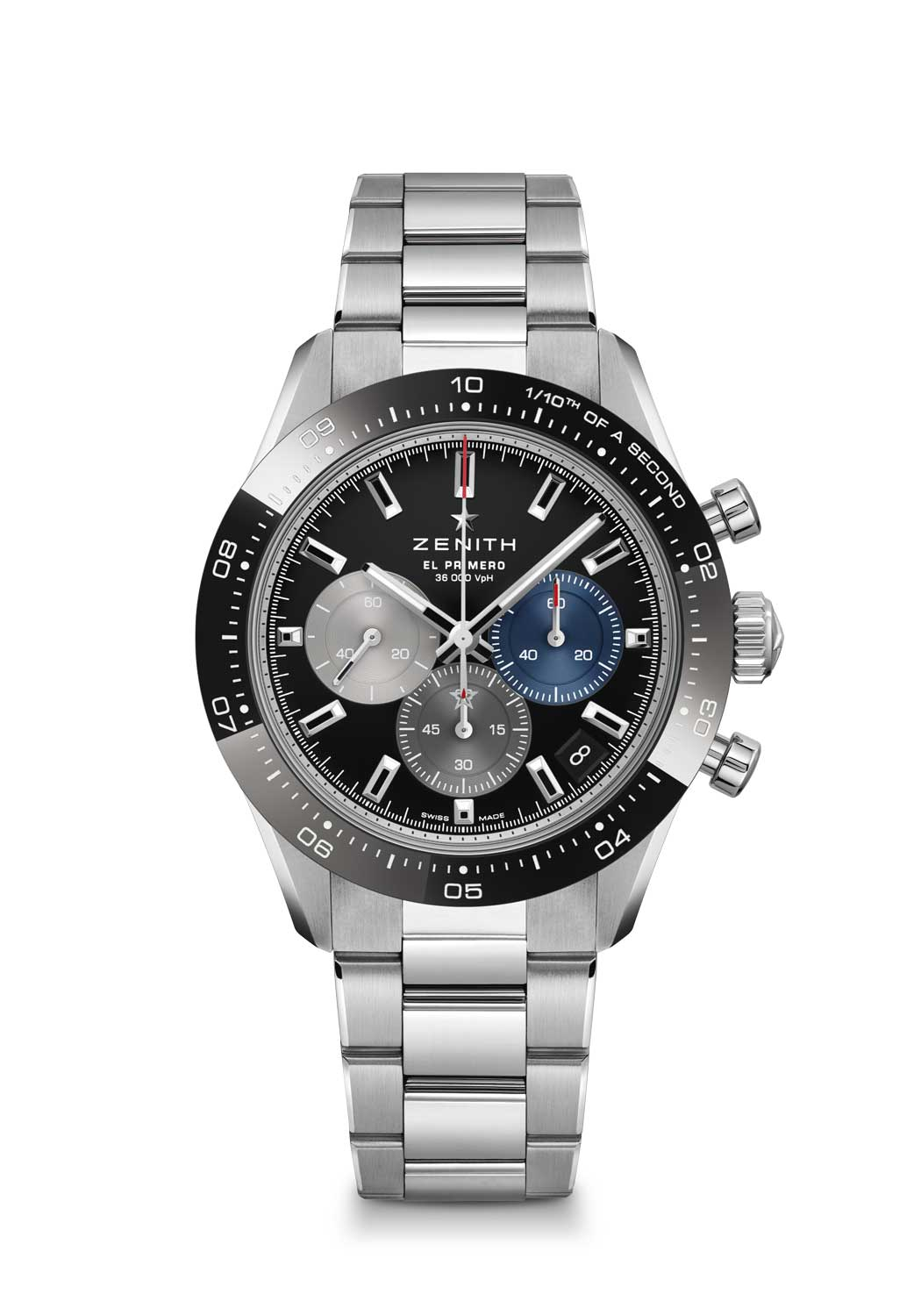 Zenith Chronomaster Sport ref. 03.3100.3600/21.M3100 with a black dial, fitted on a stainless steel bracelet