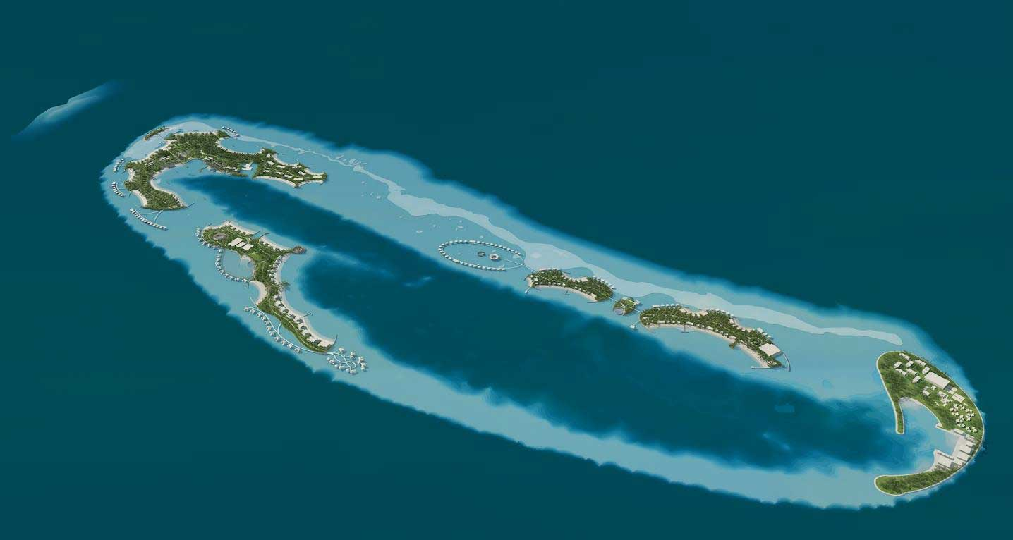 A bird's eye view of the reef islands being reclaimed for the three-hotel resort being built by Pontiac Land (Image: Pontiac Land)