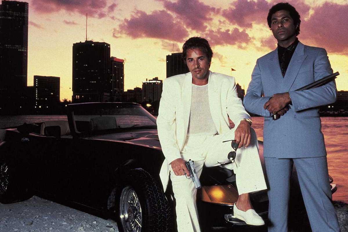 Don Johnson and Philip Michael Thomas, as detectives James 'Sonny' Crockett and Ricardo Tubbs, in Miami Vice