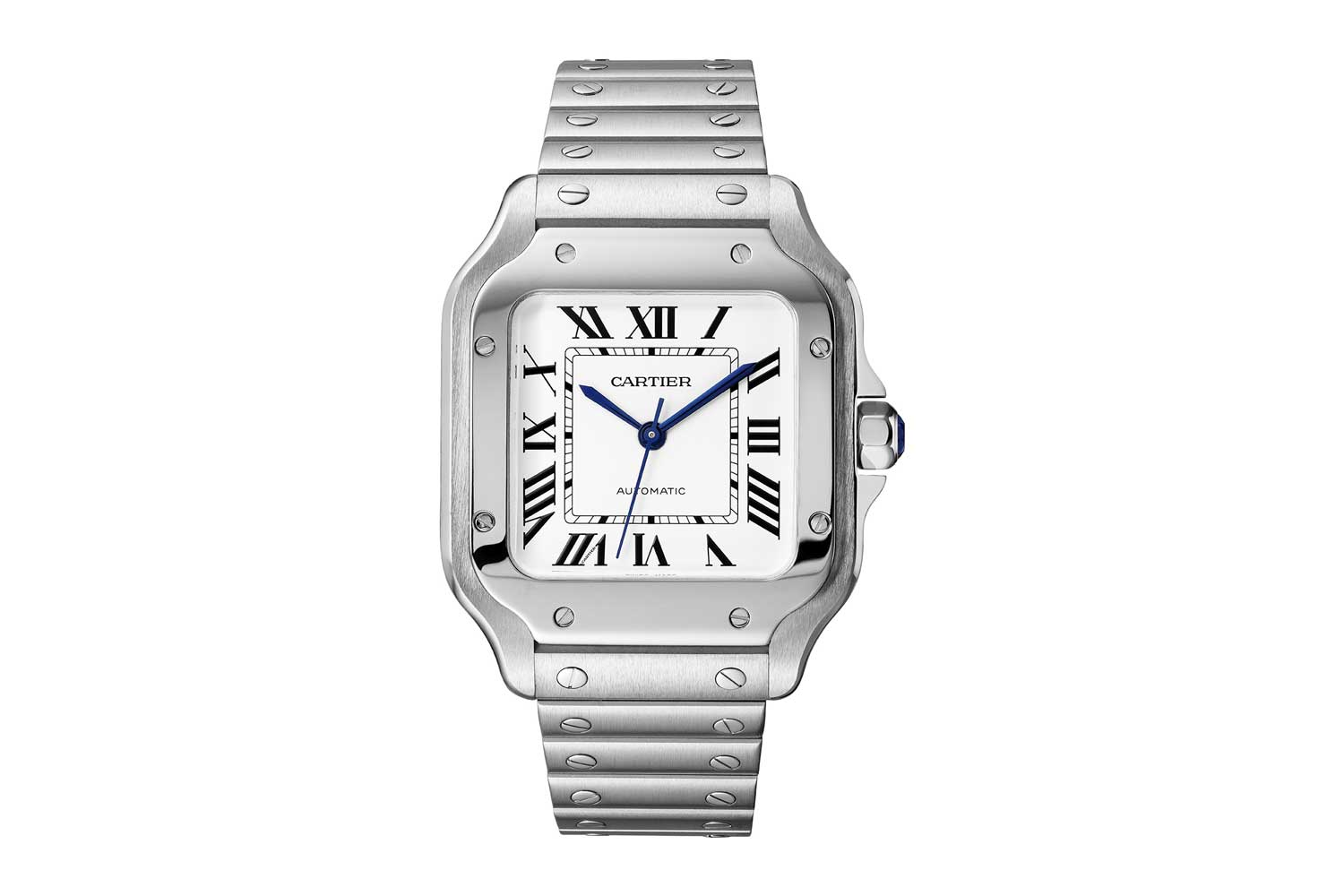 A present day, all steel, Santos de Cartier, featuring screws on both its bezel and its bracelet, measuring width: 39.8 mm, thickness: 9.08 mm; this instance was launched in 2018