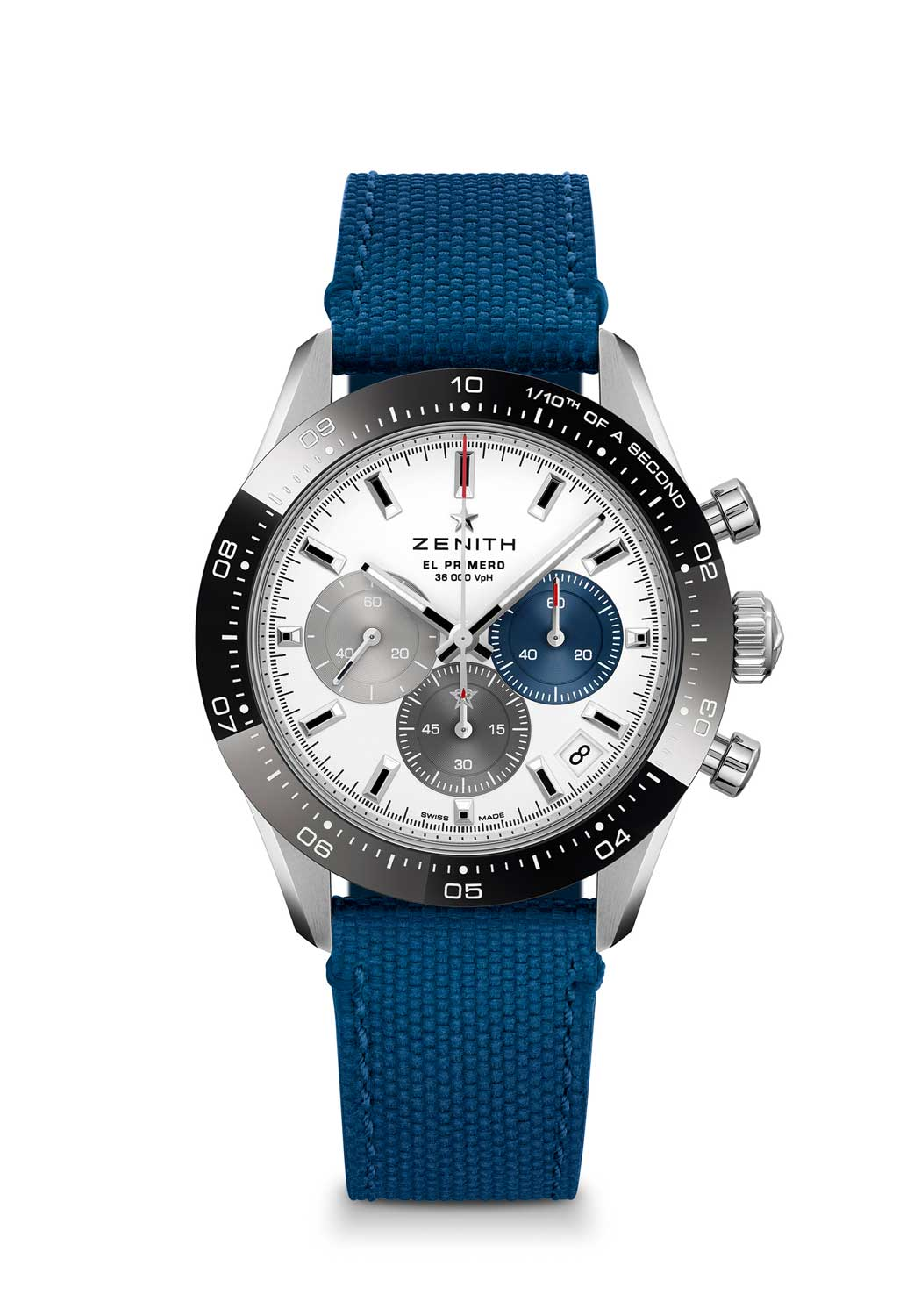 Zenith Chronomaster Sport ref. 03.3100.3600/69.M3100 with a white dial, fitted on a Cordura effect bracelet