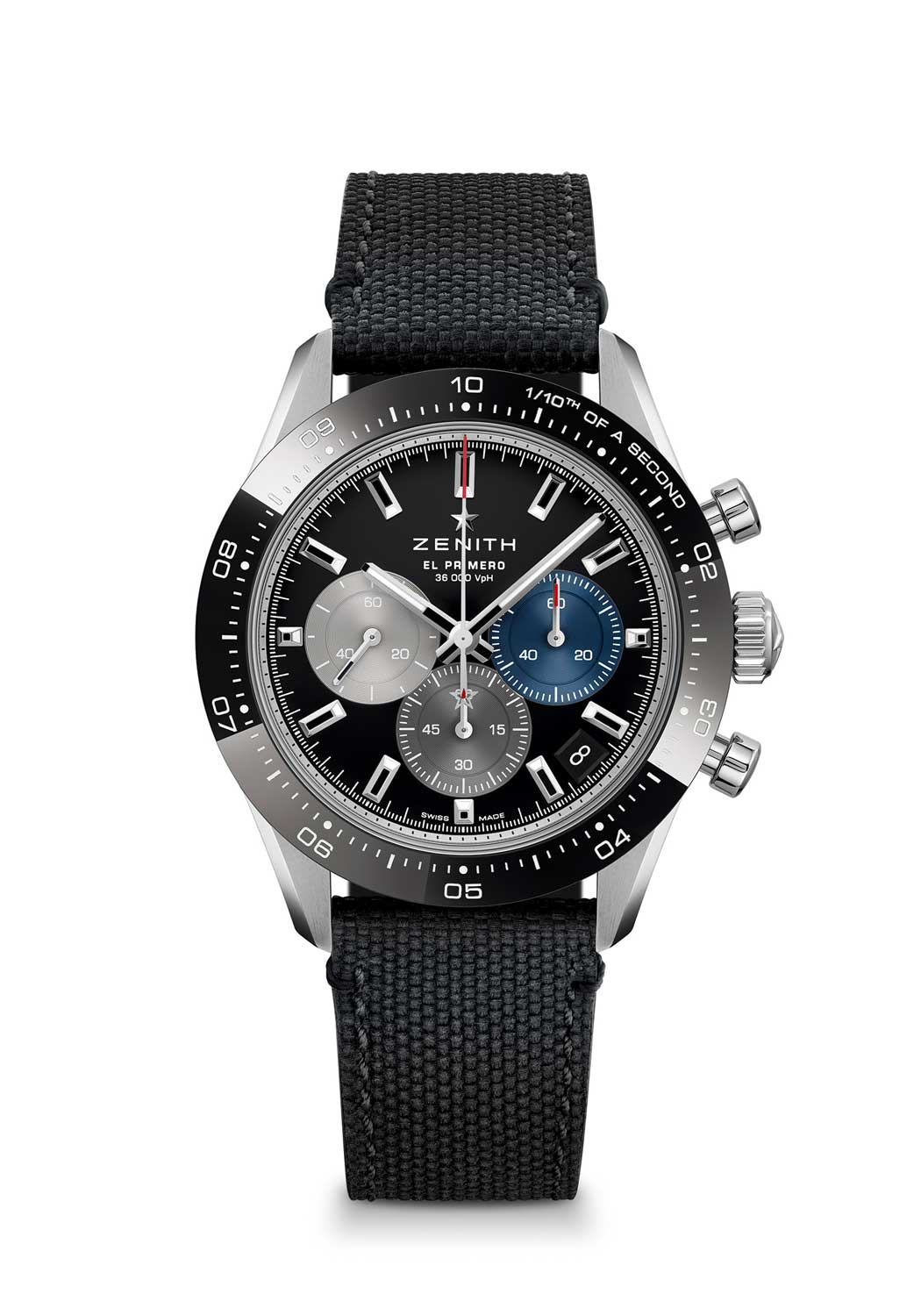 Zenith Chronomaster Sport ref. 03.3100.3600/21.M3100 with a black dial, fitted on a Cordura effect bracelet