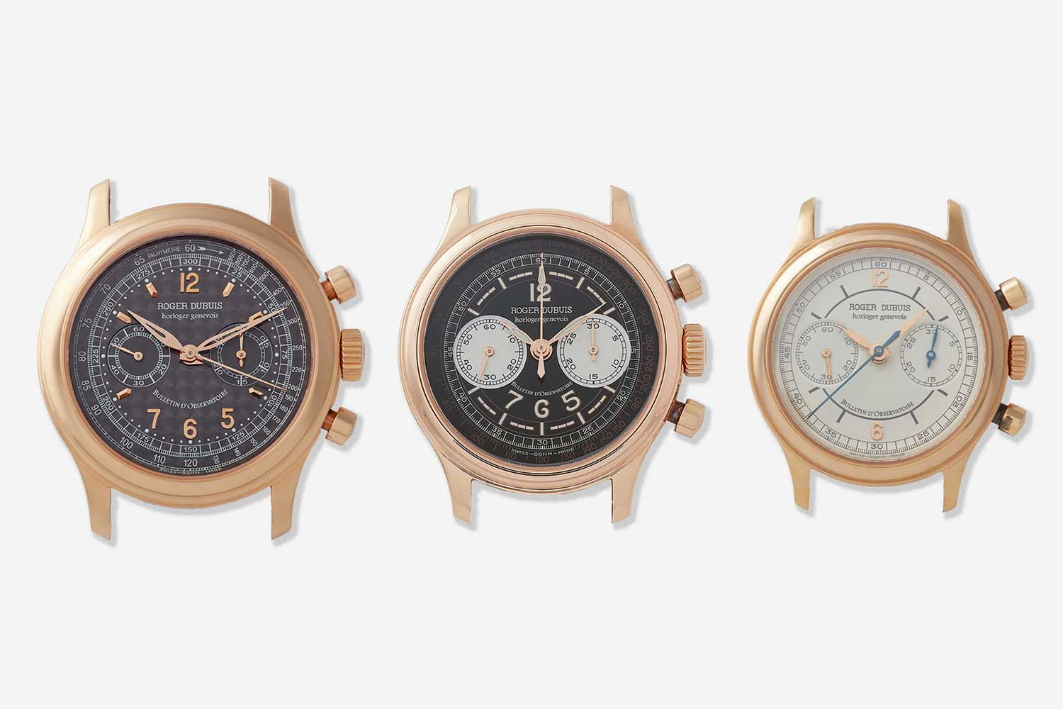 Roger Dubuis made the Hommage chronograph in 3 different sizes 34mm, 37m and 40mm. Note that there are specific dials used for specific cases. 34mm and 37mm (H34 and H37mm) respectively use Sector or Scientific Dials influenced by the Patek reference 130 in design.