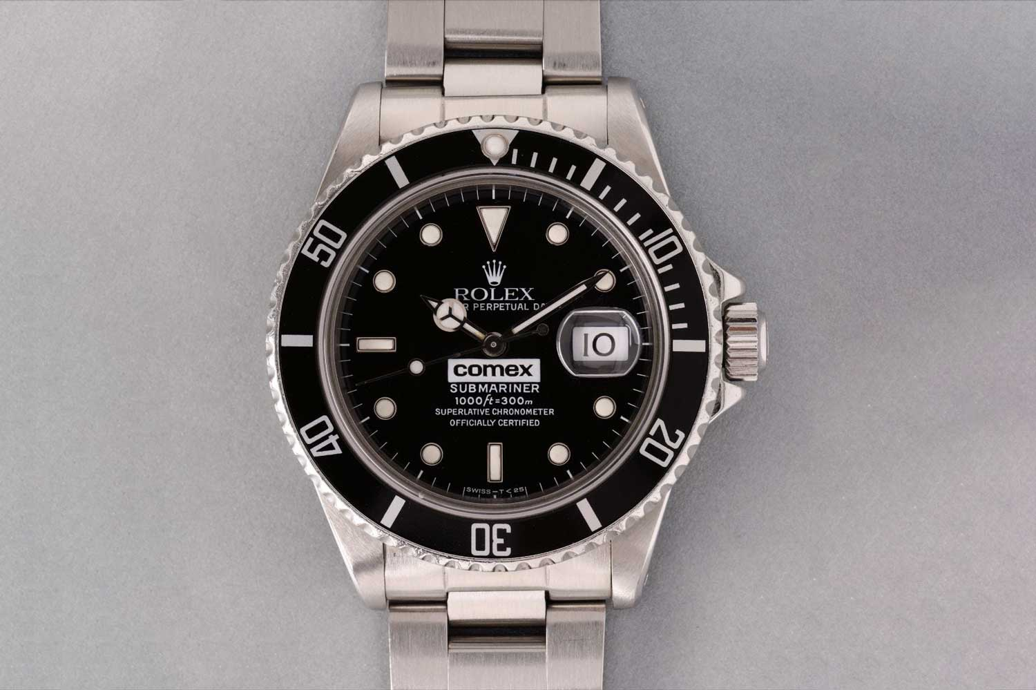 "A 1984 ""COMEX"" Submariner ref. 16800, which sold with Phillips at their November 2016 auction in Geneva, for CHF 75,000; as of the late 1960s, Rolex exclusively supplied different Submariner and Sea-Dweller models featuring the patented helium escape valve, to COMEX (Compagnie Maritime d'Expertise) in Marseilles. They were issued to their specialist divers with each watch marked COMEX on the dial and numbered on the rear (Image: phillips.com)"