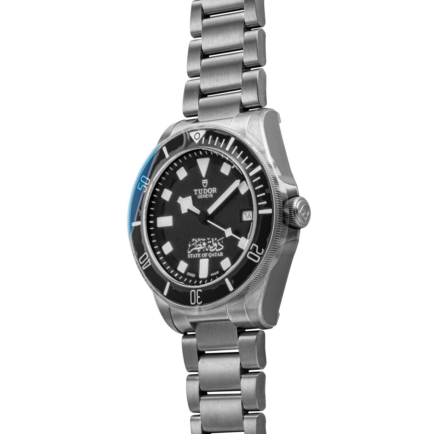 To showcase that the NOS Tudor State of Qatar Pelagos with a black dial, is in fact NOS, you can see that the watch still has its factory plastic wrapping on in the presented photographs; available for purchase through Shop.Revolution.Watch at the time of publication (©Revolution)