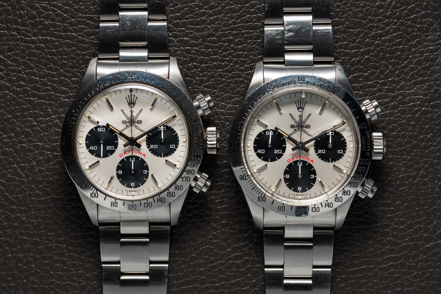 "Two rare Khanjar dial Rolex Daytona ref. 6265s; the one on the right, the ""Floating"" Daytona piece is the property of Bruce McDonald, while the non-floating version is an example that was auctioned off by Bonhams in December of 2019 for £ 375,062 (Image: @bexsonn)"