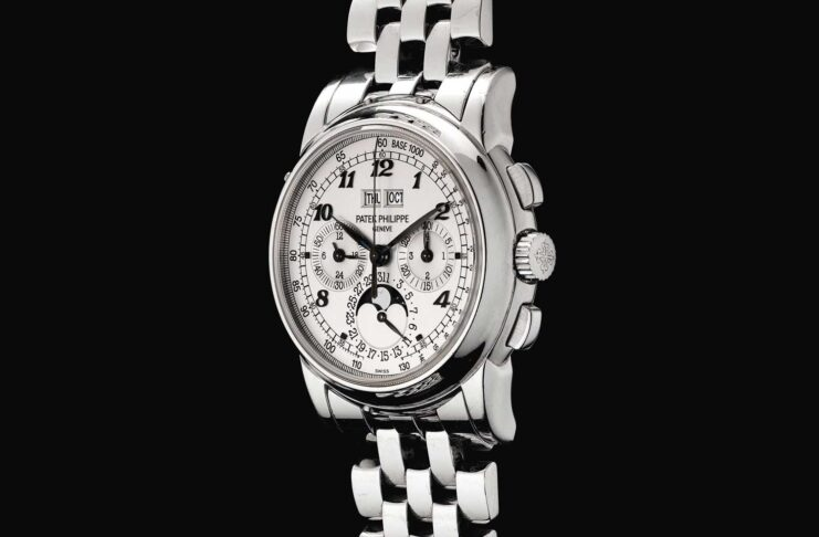 Unique Patek Philippe ref. 5970 white gold perpetual calendar chronograph wristwatch with moon-phases, Breguet numerals and bracelet, formerly in the collection of Eric Clapton; this timepiece was sold with Sotheby's Hong Kong, in 2018 (Image: Sothebys.com)