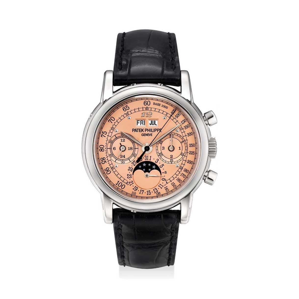 Formerly in the collection of Eric Clapton, CBE, a white gold Patek Philippe ref. 3970 perpetual calendar chronograph wristwatch with special salmon tachymetre dial and applied Breguet numeral at 12 o'clock (Image: phillips.com)