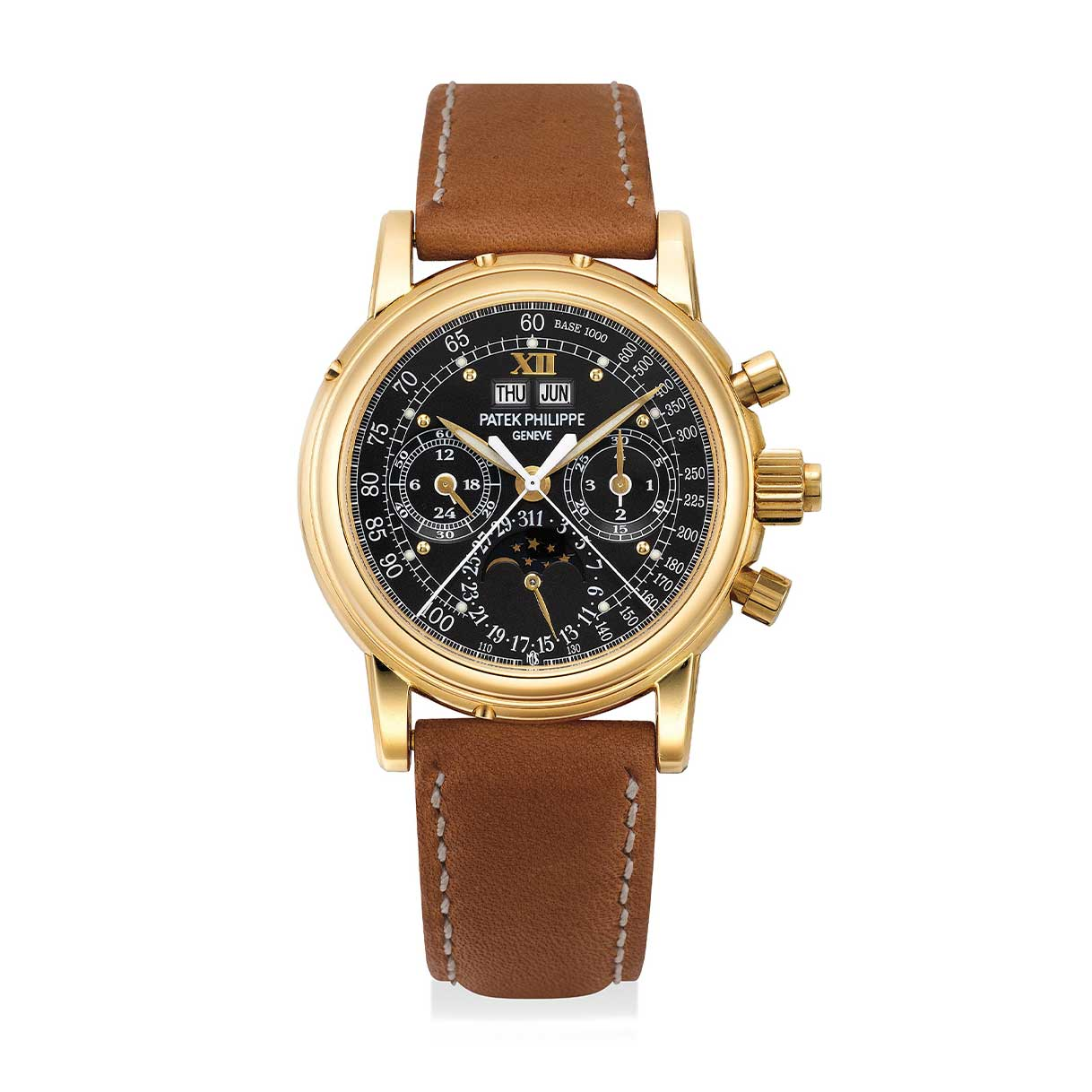 Formerly the property of Hollywood super-agent Michael Ovitz, a yellow gold Patek Philippe ref. 5004 perpetual calendar split seconds chronograph wristwatch with special luminous black dial and applied Roman numeral at 12 o'clock (Image: phillips.com)