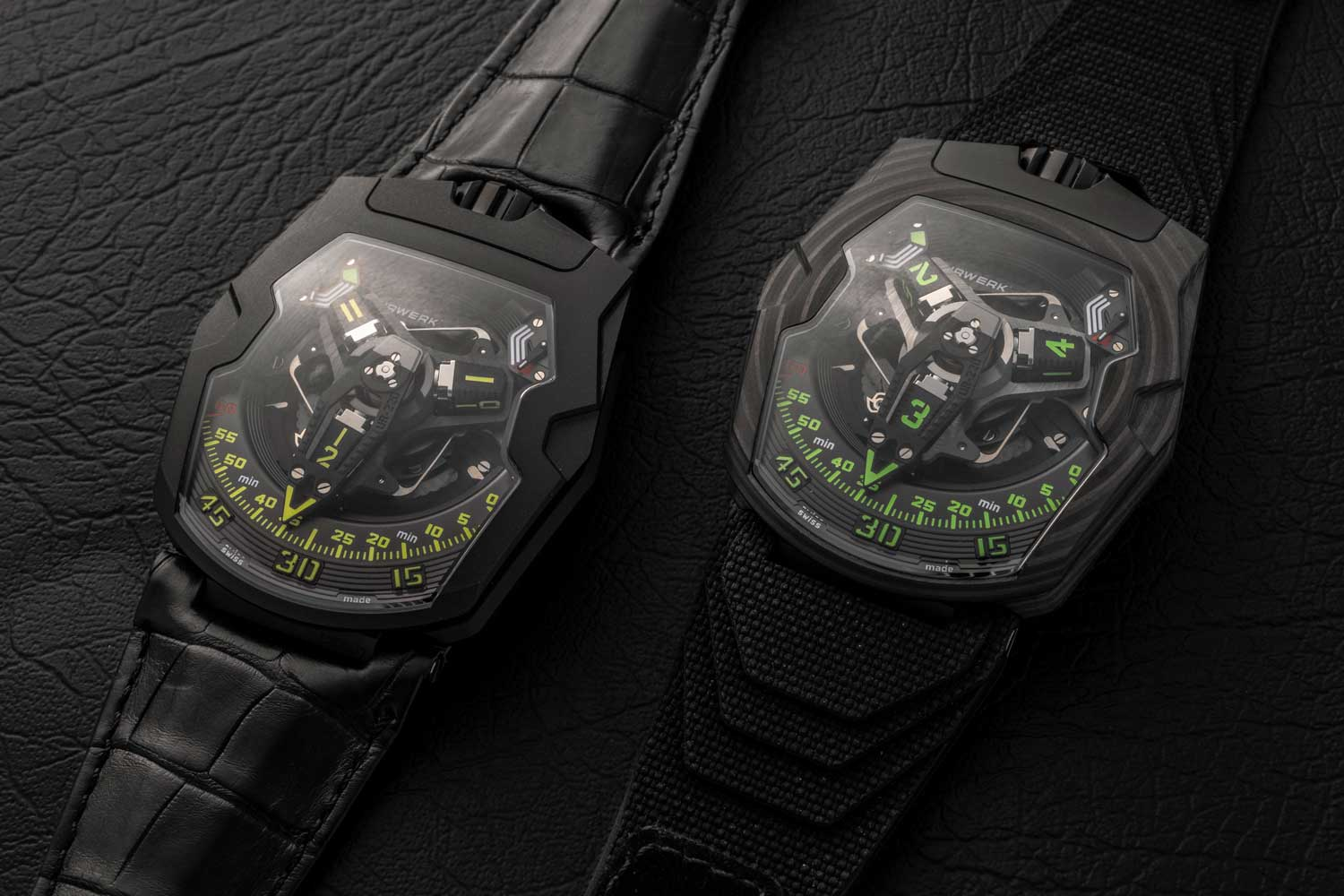 (L-R) The UR-220 All Black limited edition of 25 pieces and the UR-220 Falcon Project