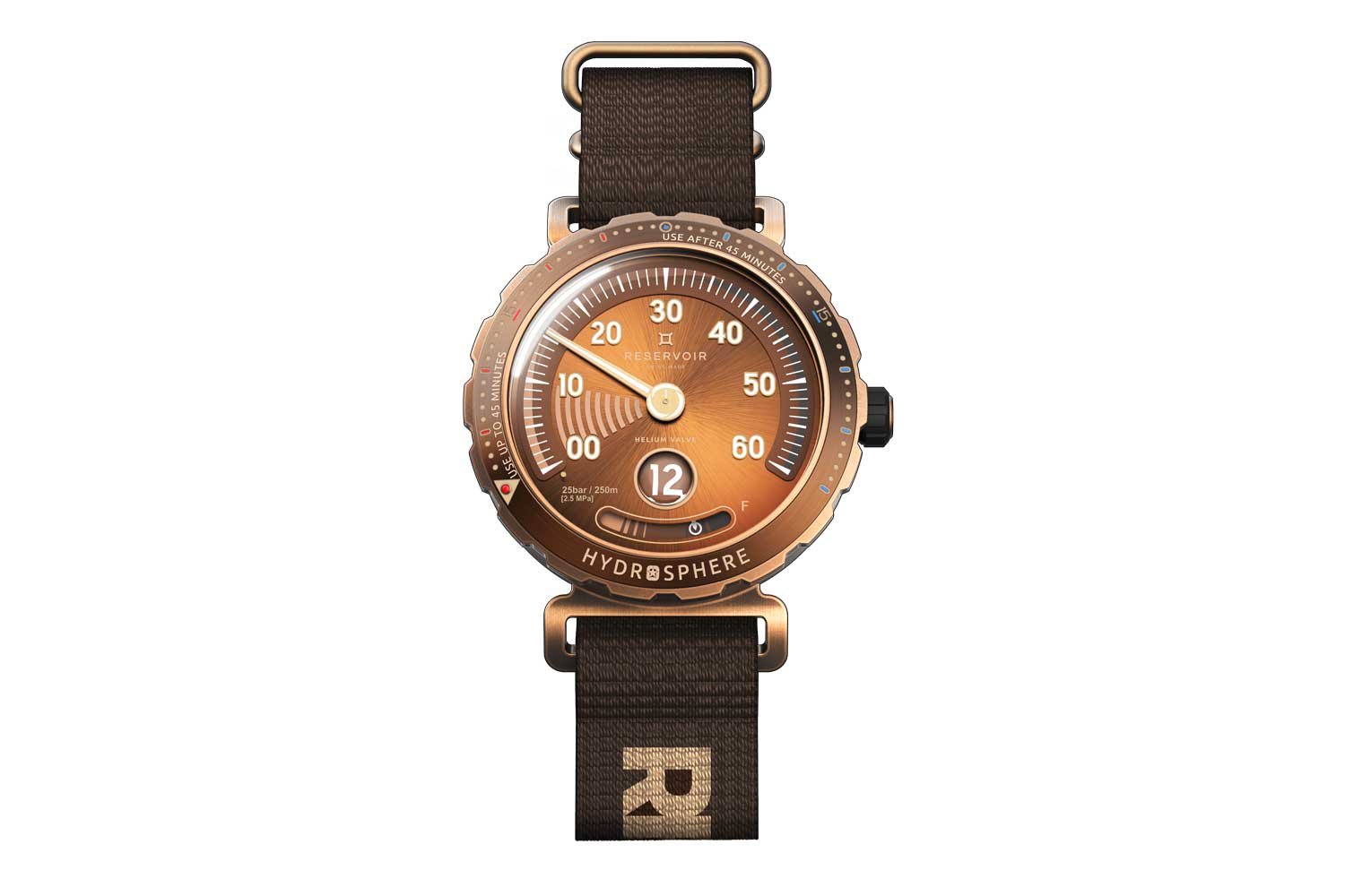 With the watch, we include a rubber strap and a NATO strap with bronze hardware and keepers. The NATO strap is an all-new strap design for us and is exclusive to the Revolution model; the NATO strap will, however, only be sent to you at a later date; a third ZULU strap with bronze keepers will also be included in the box, as our way of saying thanks
