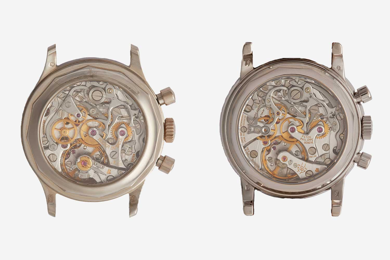 Movement side of an H34 Chronograph (left) and a Patek Philippe 3970 (right).