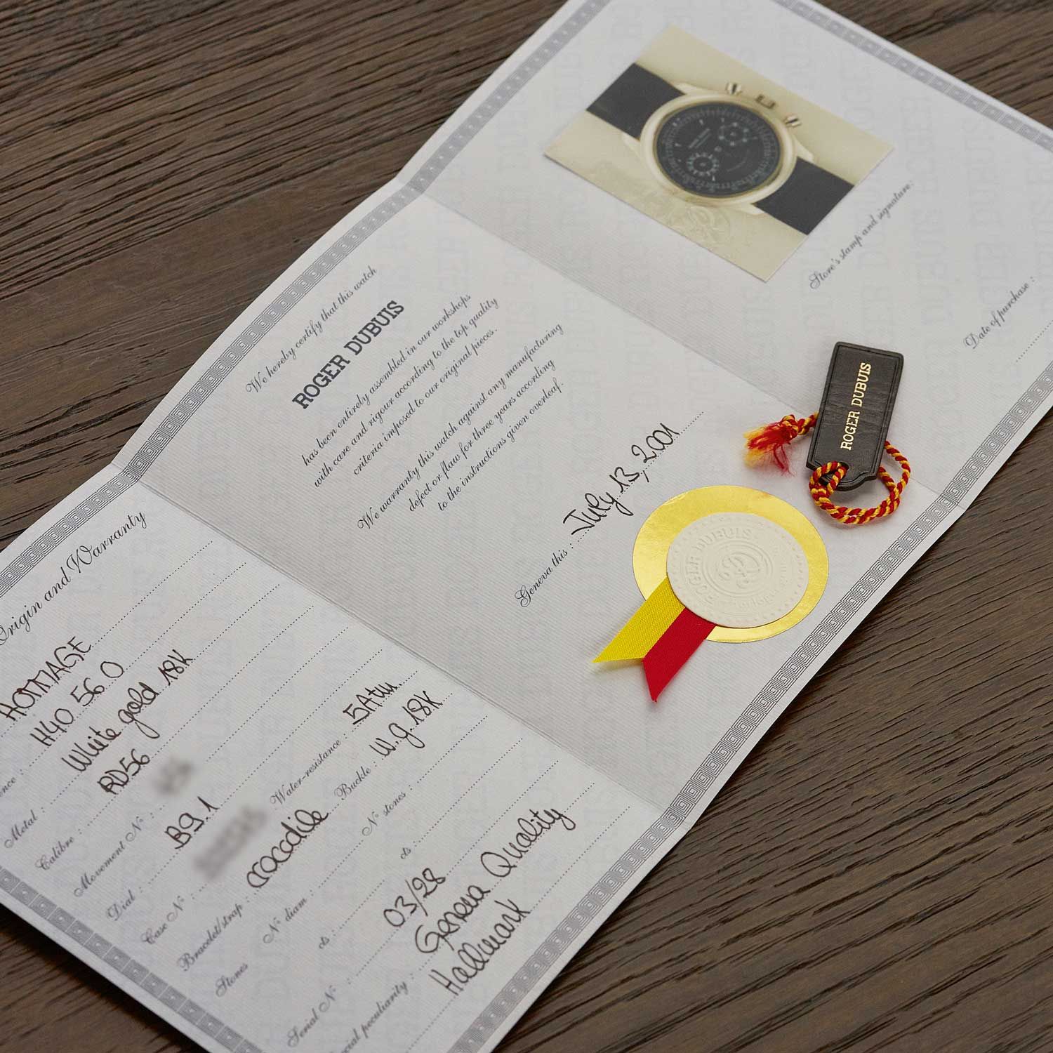 A Roger Dubuis Certificate of Origin and Guarantee from 2001