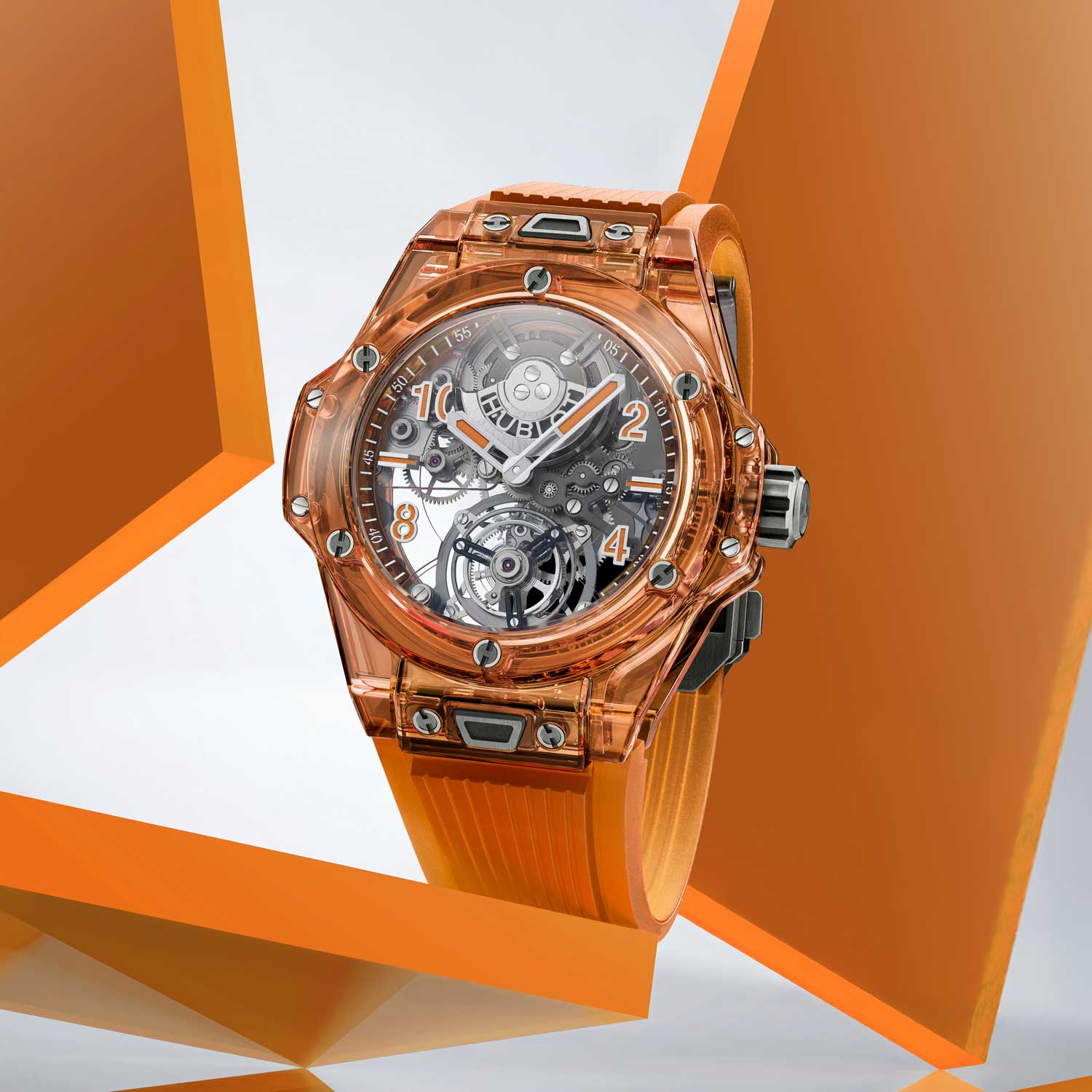 Hublot's orange sapphire is a world first for a material that is through-tinted and is achieved by the use of titanium and chromium in a top-secret manufacturing process