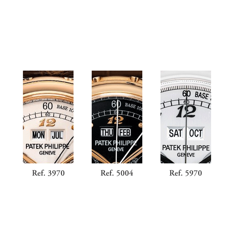 The Breguet numerals used on Clapton's ref. 5970s are totally different from those used on his ref. 3970 and ref. 5004 watches; you can clearly see, the Breguet numerals on the ref. 5970 are taller and thinner, while the font used for the smaller watches is more compact, thicker and a little more squarish