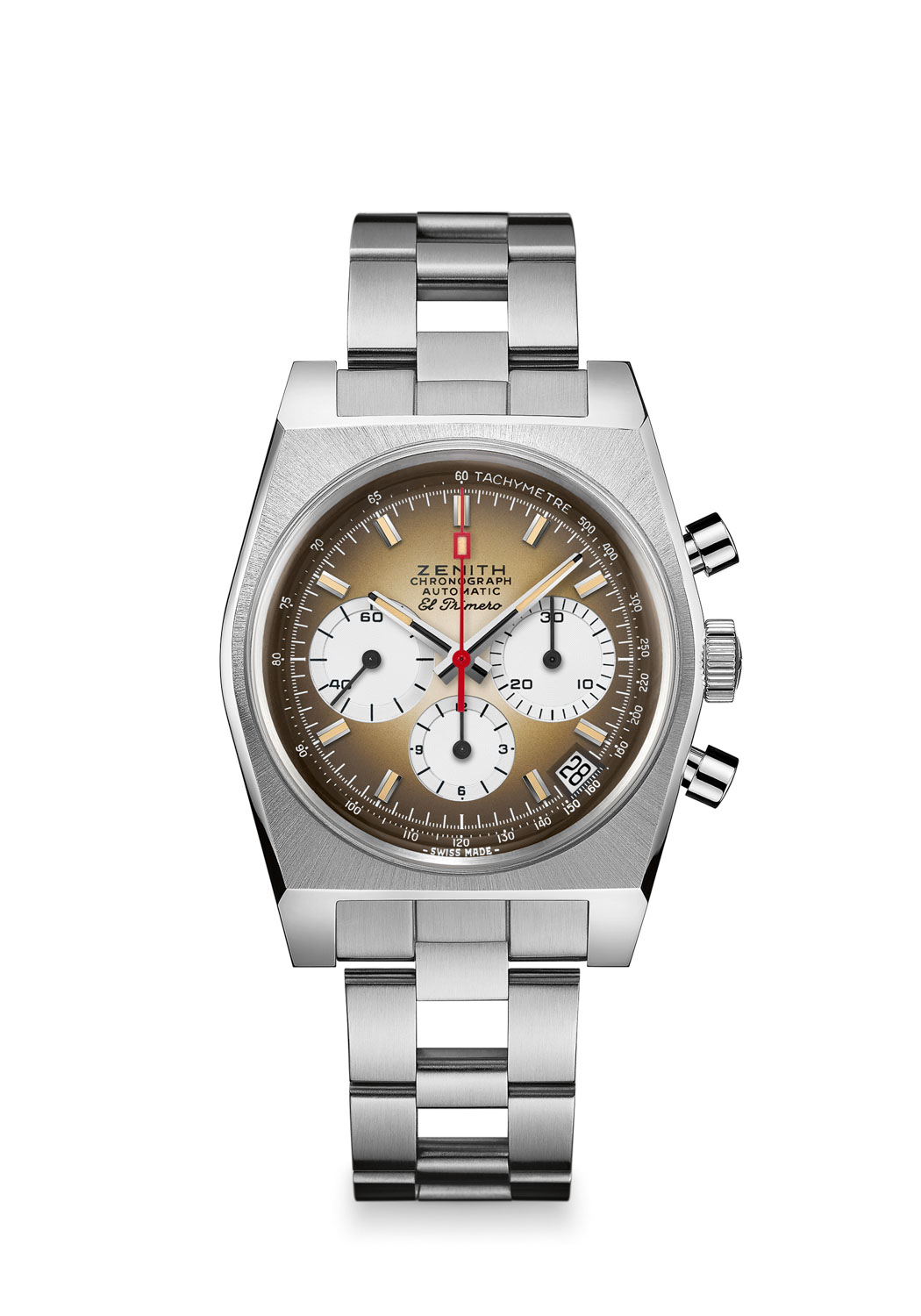 """Zenith Chronomaster Revival A385 on a """"ladder"""" bracelet with stainless steel double folding clasp"""