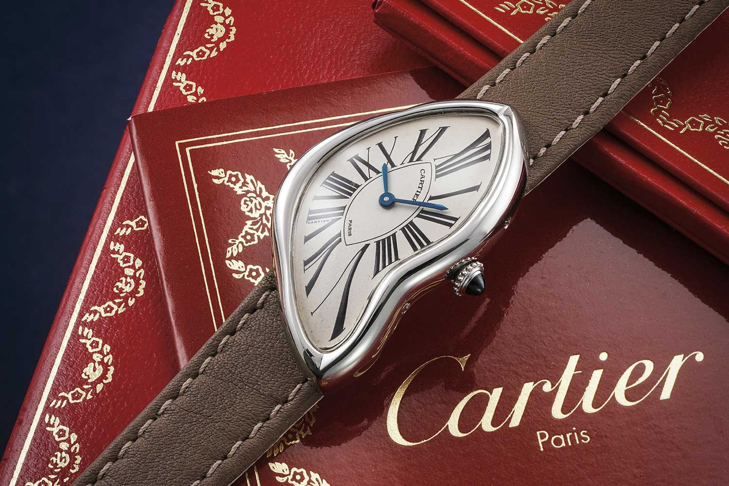 A 1992 Cartier Tank Crash: a highly limited version produced in the early 1990s and cased in platinum - the rarest case metal and most exclusive version of the 1990s Crash, sold through the maison's prestigious Paris boutique; this particular example sold with Phillips at their November 2020 Geneva auction, for CHF258,300 (image: phillips.com)