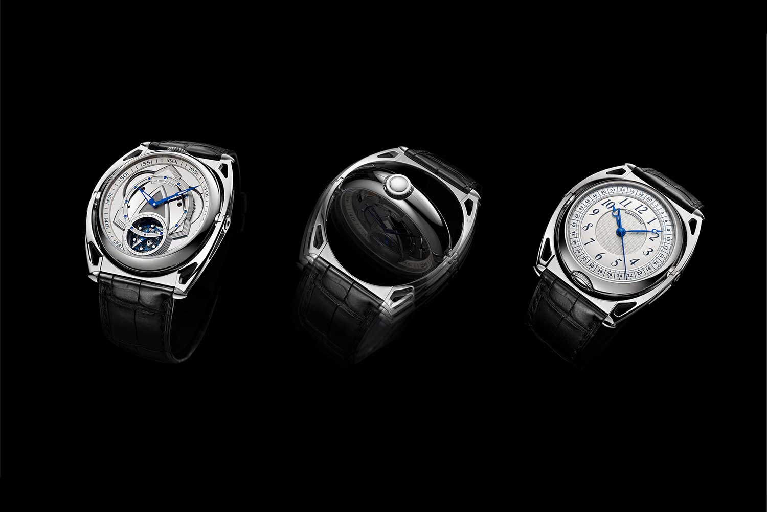 The two-sided De Bethune DB Kind of Two Tourbillon transforms between it's two faces along an axis on the articulating lugs of the timepiece