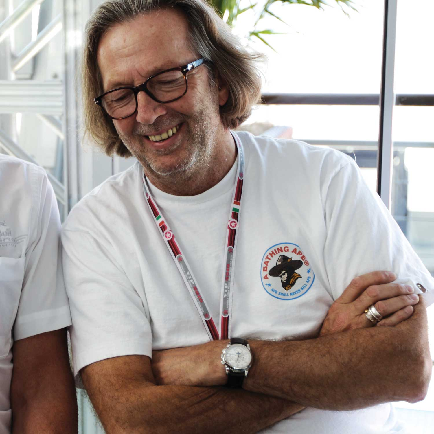 Singer, musician Eric Clapton wearing what is likely his unique Patek Philippe 5970G with applied Breguet numerals, and amusingly a Bathing Ape t-shirt; here Clapton was at the Formula One Grand Prix at the Autodromo Nazionale di Monza on September 11, 2010 in Monza, Italy. (Photo by Mark Thompson/Getty Images)