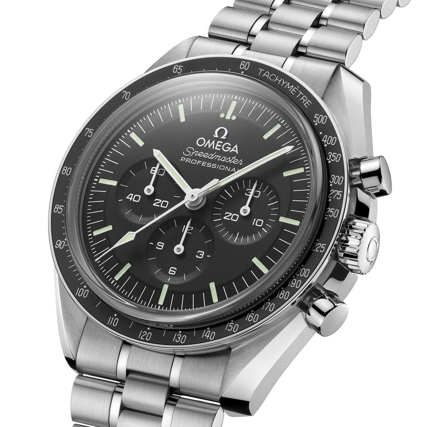The 2021 Master Chronometer Certified Speedmaster features a stepped dial with the new 3-hash divisions on the seconds scale