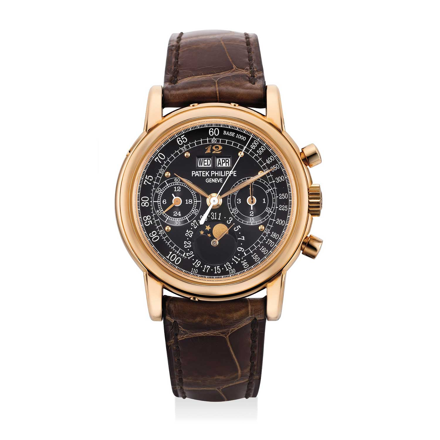The pink gold Patek Philippe ref. 3970 perpetual calendar chronograph wristwatch with special black tachymeter scale balck dial and applied Breguet numeral at 12 o'clock; only 5 of these were produced by Patek Philippe for their 2015 exhibition in London (Image: phillips.com)