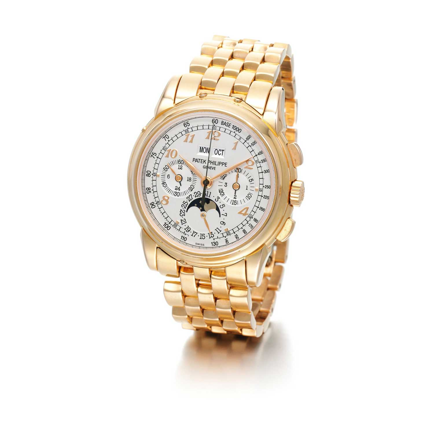 Formerly in the collection of Eric Clapton, CBE, a pink gold Patek Philippe ref. 5970 perpetual calendar chronograph wristwatch with a white dial and applied Breguet numerals (Image: sothebys.com)
