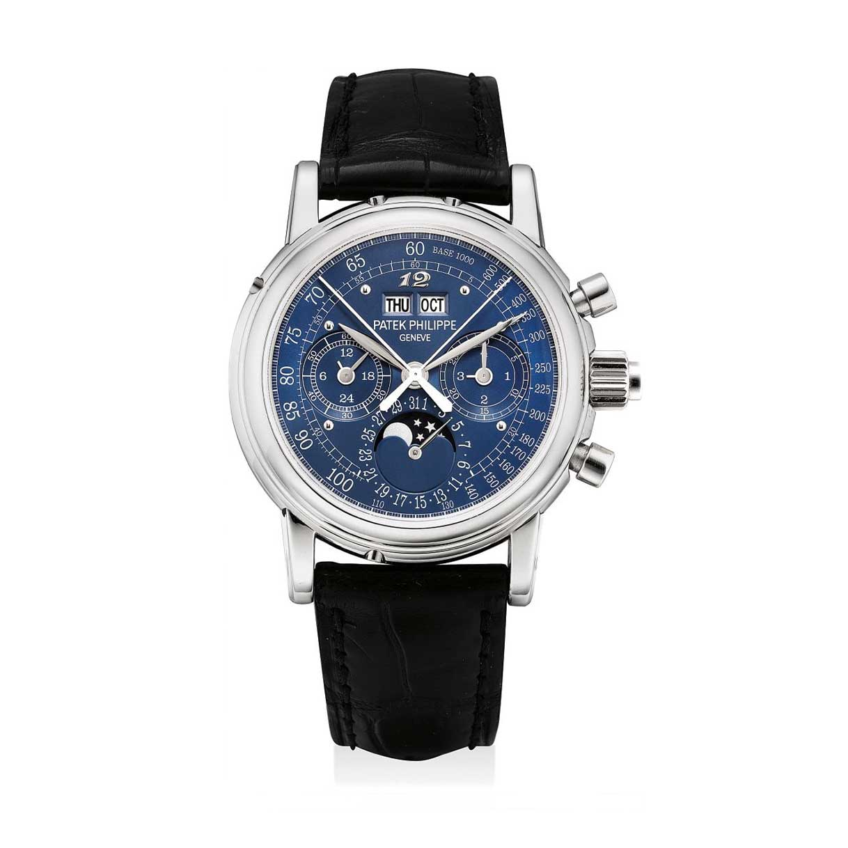 Formerly in the collection of Eric Clapton, CBE, a platinum Patek Philippe ref. 5004 perpetual calendar split seconds chronograph wristwatch with a special blue tachymetre dial and applied Breguet numeral at 12 o'clock (Image: phillips.com)