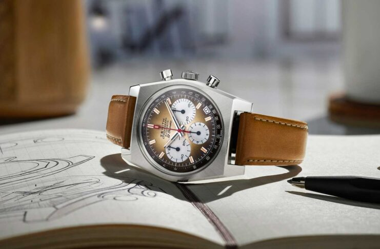 Zenith Chronomaster Revival A385 on a light brown calf leather strap with protective rubber lining and a stainless steel pin buckle