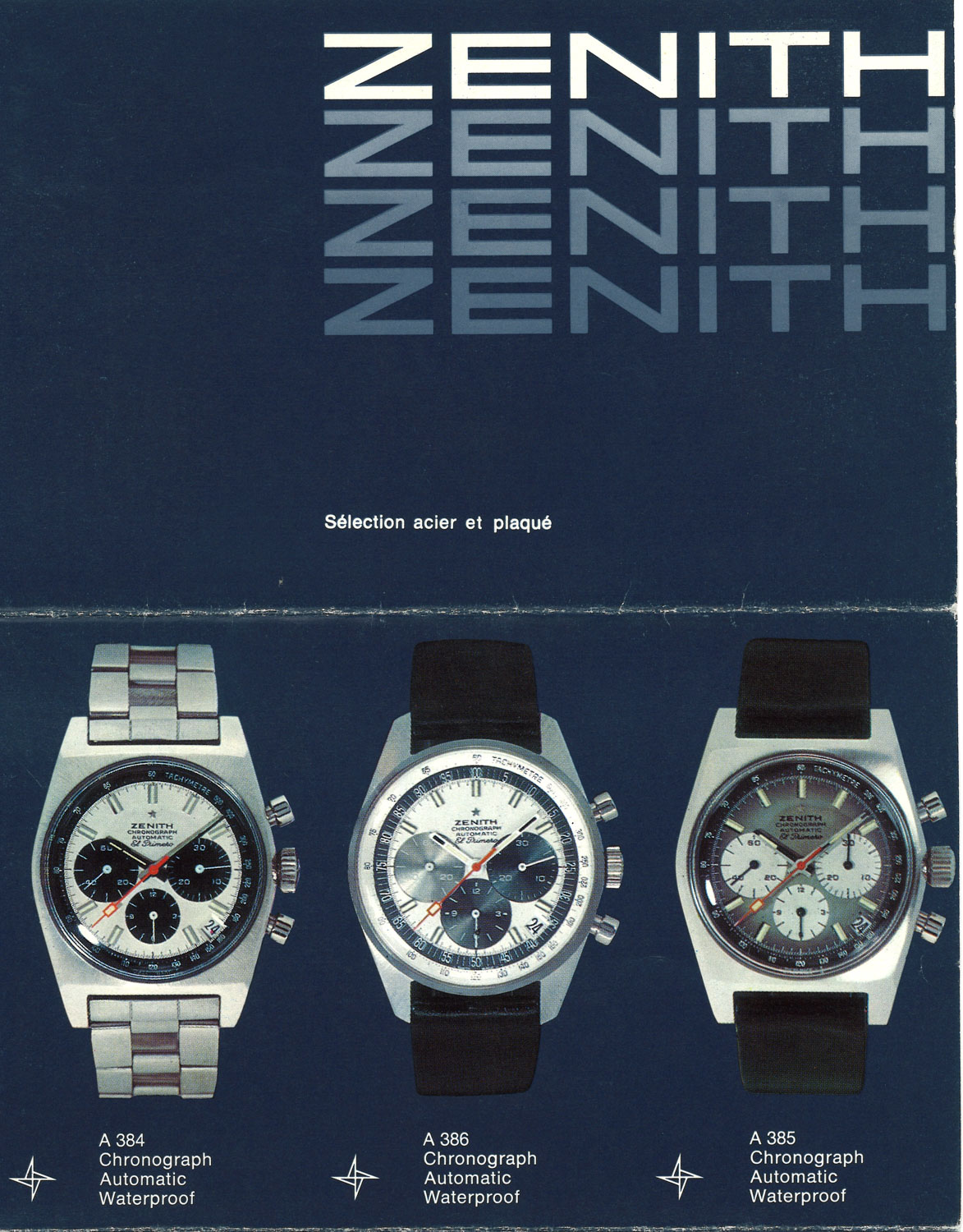 A 1969 Zenith advertisement showcasing the the three references that gave the El Primero its first foray into the world, including the A385 the first El Primero watch with a gradient dial